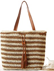STYLE-CICIWomen-Casual-Straw-Shoulder Bag-Green / Brown / Red