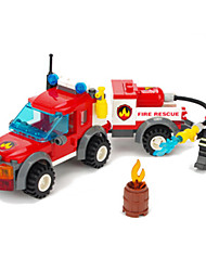 Enlightenment educational Assembly assembled plastic building blocks Fire rescue vehicle toy