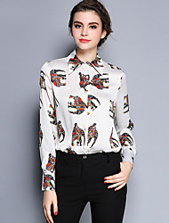 Women's Work Simple Summer Shirt,Animal Print Shirt Collar Long Sleeve Red / White / Green / Yellow Silk Thin