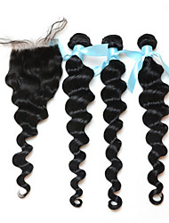 Hair Weft with Closure Peruvian Texture Loose Wave 18 Months 3 Pieces hair weaves