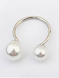 Hot Sell Fashion Elegant Women Silver Plated European Lovely Girls Simulated Pearl Adjustable Ring