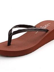 Women's Summer Flip Flops / Open Toe Synthetic Casual Wedge Heel Black / Brown / Beige
