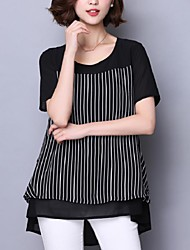 Women's Casual/Daily / Plus Size Summer Blouse,Striped Round Neck Short Sleeve Black Polyester Medium