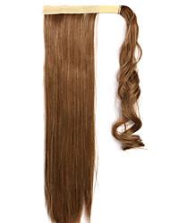 brun mélange droite cheveux raides perruque ponytails 12/24