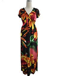 Women's L-6XL Boho Floral Swing Dress,V Neck Maxi Spandex Plus Size