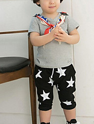 Boy's Cotton Blends Micro-elastic Medium Pentagram Print Leisure Short Sleeve Harem Pants