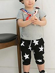 Boy's Cotton Blends Micro-elastic Medium Pentagram Print Leisure Short Sleeve Harem Pants