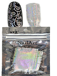 1pcs 100 * 4cm прозрачный лазерный лак для переноса искусства блеск наклейки поделки геометрические монеты изображение цветка ногтя