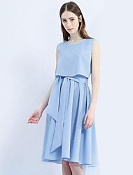 Women's Going out Simple A Line Dress,Solid Round Neck Knee-length Sleeveless Blue Cotton Summer
