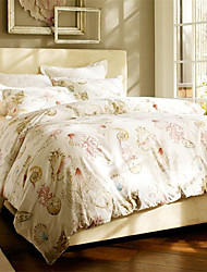 Luxury Egyptian Cotton 4PC Duvet Set Shell Pattern Queen King Size
