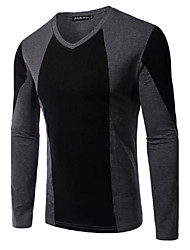 Men's Patchwork Casual T-Shirt,Cotton Long Sleeve-Black / Gray