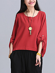 Women's Solid Red / White Loose Blouse,Plus Size/Vintage/Casual Asymmetrical Round Neck ¾ Sleeve Cotton/Linen