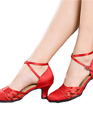 Women's Dance Shoes Latin Satin Chunky Heel Black/Red
