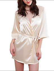 Burvogue Women's Short Stain Kimono Robe Gowns Lace Lingerie Sleepwear