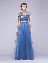 Formal Evening Dress A-line Bateau Floor-length Tulle / Sequined with Appliques / Sash / Ribbon / Side Draping / Sequins