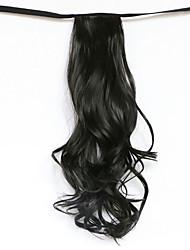 волна воды черный синтетический тип повязка парик волос хвостик (цвет 2)