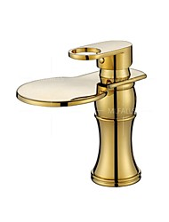 Waterfall Basin Faucet Outlet Gold Taps High-Grade Wahroom Hotel Hot and Cold mixer Golden Plating Quality