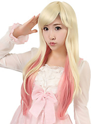 24 inch Women Long Kinky Straight Synthetic Hair Wig Beige Ombre Light Pink with Free Hair Net