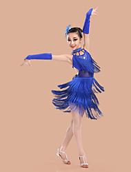 Dança Latina Vestidos Crianças Actuação Elastano Poliéster 5 Peças Sem Mangas Alto Vestido Luvas Tiaras Neckwear