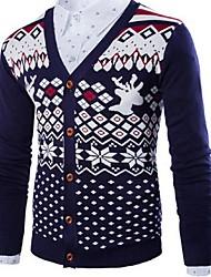 Herren Freizeit Strickjacke - Verziert Normal Lang Baumwolle