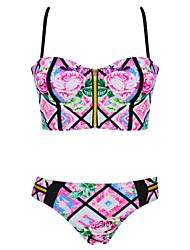 Burvogue Women's Pattern Padded Bikini Set Swimwear Swimsuit