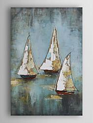 pintura al óleo pintada a mano del paisaje conjunto navegar el barco con el marco estirado Arts® 7 de pared