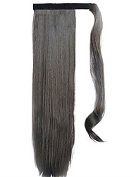 Black Chocolate 60CM Synthetic High Temperature Wire Wig Straight Hair Ponytail Color 8