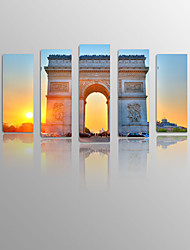 Landscape Triumphal Arch  under Sundown Canvas wood Framed 5 Panels Ready to hang for Living Decor
