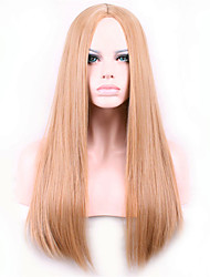 Europe And The United States Wine Golden Brown Points in 26 inch Long Straight Hair Nylon Hair Wigs