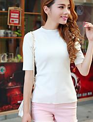 Damen Standard Pullover-Lässig/Alltäglich Street Schick Solide Weiß Schwarz Grau Rundhalsausschnitt Kurzarm Baumwolle Frühling Dünn