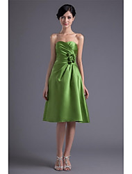 Tea-length Satin Bridesmaid Dress A-line Sweetheart with Flower(s) / Side Draping