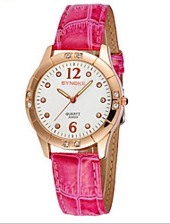 Women's Gold Case Leather Band Quartz Wrist Watch Cool Watches Unique Watches