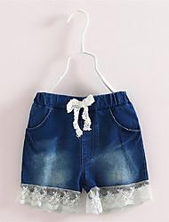 Short Fille de Mosaïque Décontracté / Quotidien Coton Eté Bleu
