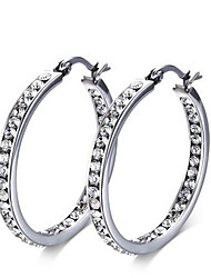 women Stainless Steel sliver Hoop Earrings