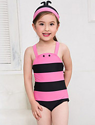 Girl's Summer  Honeybee  Printing Swimming Swimming Cap One-piece Bathing Suit