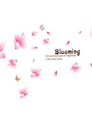 Pink Lily Flower Blooming Wedding Room Wall Stickers PVC Removable Living Room Wall Decals