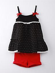 Girl's Polka Dot Clothing Set,Cotton Summer Black