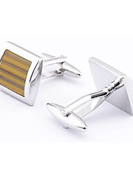 Men's Fashion Yellow Crystal Alloy French Shirt Cufflinks (1-Pair)