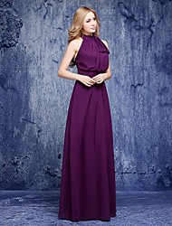 A-Line Halter Floor Length Chiffon Bridesmaid Dress with Bow(s)