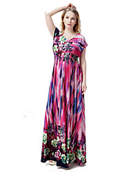 Women's L-6XL Plus Size  Boho Floral Swing Dress,V Neck Maxi Polyester