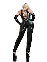 Women's Hollow Out Bondage PVC Catsuit Leather Fancy Dress