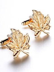 Unisex Fashion Maple Style Gold Alloy French Shirt Cufflinks (1-Pair)