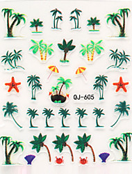 3pcs 2016 New Creative 3D Nail Stickers Palm Trees Island Series Exotic Nail Art Decals DIY Manicure