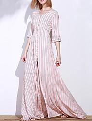 Mulheres Vestido Swing Moda de Rua Listrado Longo Decote V Poliéster