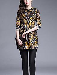 Mulheres Solto Vestido,Casual / Tamanhos Grandes Moda de Rua Estampado Decote Redondo Mini Manga ¾ Amarelo Algodão Verão