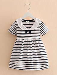 Baby Kid Girls Short Sleeve One Piece Dress Blue Striped Bowknot Tutu Dresses Summer Style