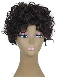 Heat Resistant Cheap Fake Hair Wig Short Dark Brown Afro Curly Synthetic Wigs for Black Women