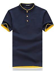 Camiseta De los hombres A Rayas / Un Color / Bloques-Casual / Trabajo / Formal / Deporte / Tallas Grandes-Algodón / Poliéster-Manga Corta-