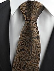 KissTies Men's Brown Black Paisley Necktie Formal Business/Wedding/Party/Work/Casual Tie With Gift Box
