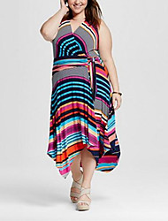 Women's Going out / Plus Size Simple Loose Dress,Striped V Neck Midi Sleeveless Blue Cotton Summer